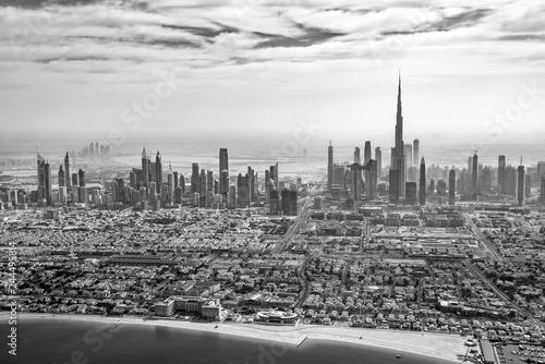 plakat Aerial view of Dubai skyline in black and white, United Arab Emirates