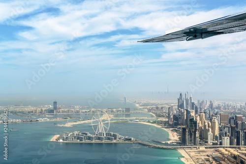 Aerial view of Dubai Marina skyline with Dubai Eye ferris wheel, United Arab Emirates