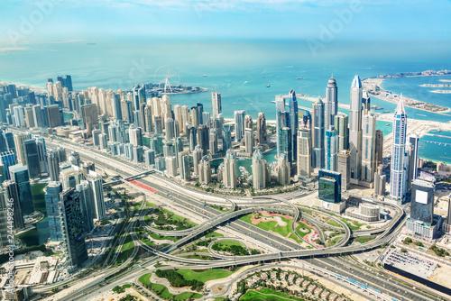 Aerial view of Dubai Marina skyline and road interchange, United Arab Emirates
