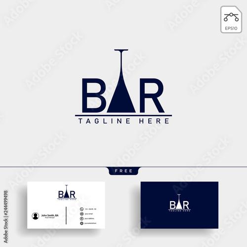 Obraz wine and bar type logo template vector illustration - fototapety do salonu