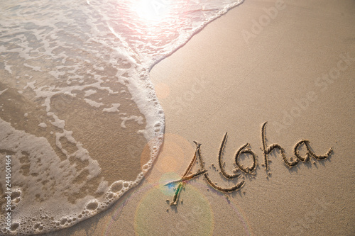 Aloha tropical vacation message handwritten on a smooth sand beach with incoming Wallpaper Mural
