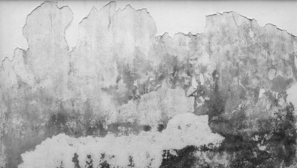 Old white concrete wall are peeling. Paint concrete wall abstract texture background. Deteriorated over time. Cracked cement wall.