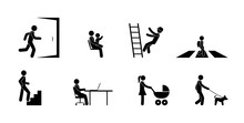 Character Set, People In Different Situations, Man Icon, Exit Sign, Crosswalk