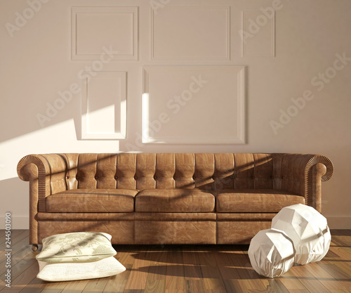 Pleasant Modern Interior With Chesterfield Sofa Pillows And Lamps On Caraccident5 Cool Chair Designs And Ideas Caraccident5Info