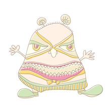 Vector Child Hand Draw Sketch Freaky Alien Monster