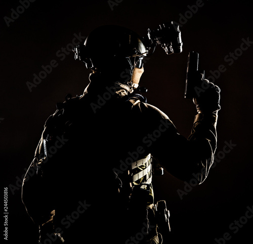 Fotografie, Obraz  Army elite forces soldier, police special operation, counter terrorist team memb