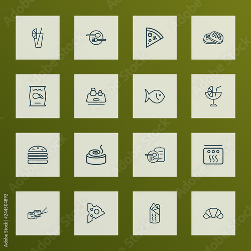 Food Icons Line Style Set With Shawarma Kitchen Scales