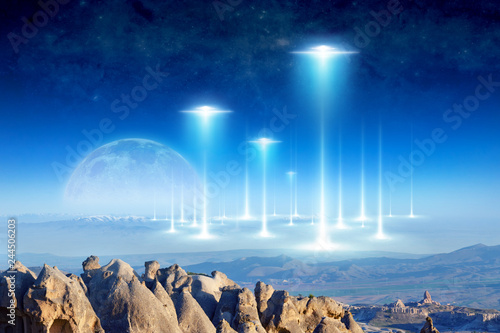 Alien arrival on planet Earth, full moon rises above the horizon Wallpaper Mural