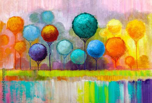 Obraz Kolorowa abstrakcja - obraz malowany na płótnie - fototapety do salonu