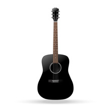 Black Acoustic Guitar Isolated...