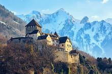 Vaduz Castle, Liechtenstein, With Snow Covered Alps Mountains In Background