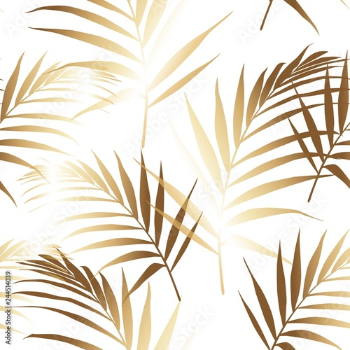 Foto-Lamellenvorhang - Seamless pattern with golden palm leaves on white background. (von Iuliia)