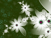 Abstract White Flowers With Green Background