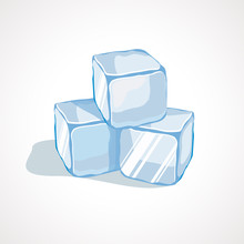 Vector Illustration Of Cartoon Blue Ice Cubes