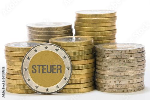 Fotografía  Steuer auf Münze