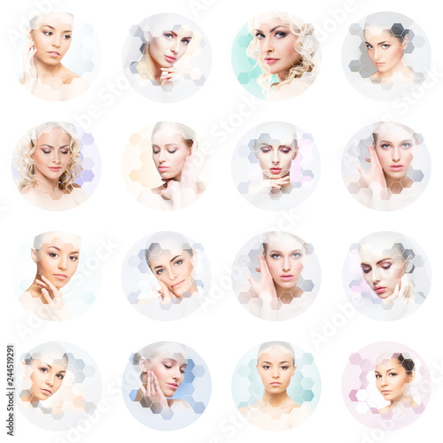 Poster Chambre d enfant Collage of female portraits. Healthy faces of young women. Spa, face lifting, plastic surgery collage concept.