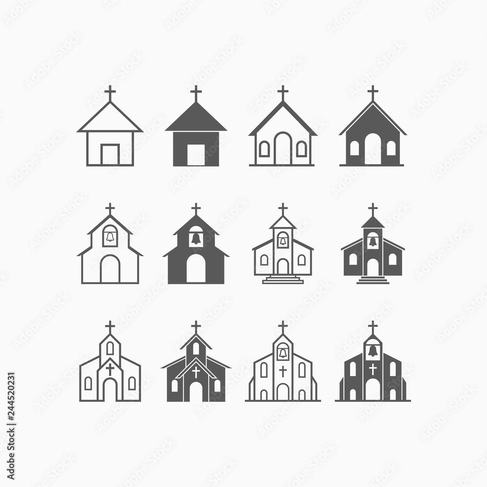 Fototapety, obrazy: church icon set, church vector