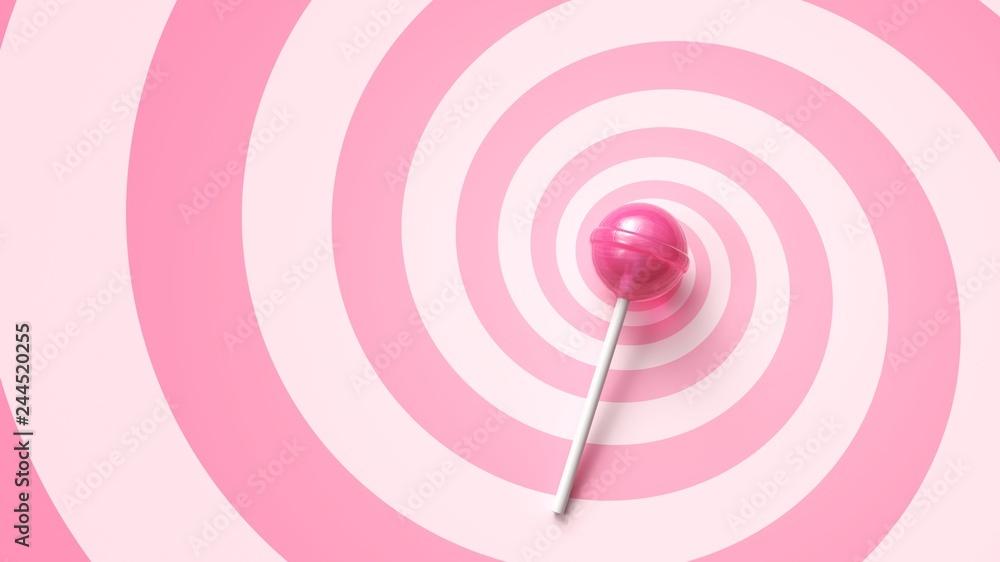 Fototapety, obrazy: Sweet lollipop on stick on pink spiral background