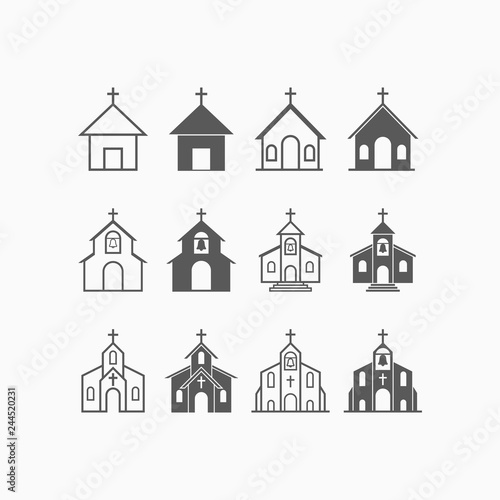 Valokuva church icon set, church vector