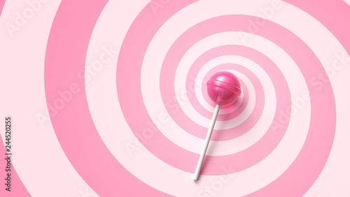 Sweet lollipop on stick on pink spiral background Canvas Print