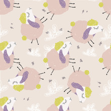 Cute Vector Illustration Of Pattern, Graphic Drawing Funny Pink Sheep On Cloudy Background. Fluffy Wool Pet Background For Fabric, Textile, Paper, Wallpaper, Wrapping Or Greeting Card. Doodle Element