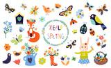 Fototapeta Fototapety na ścianę do pokoju dziecięcego - Spring time elements collection with hand drawn  seasonal items