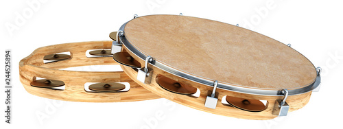 Stampa su Tela tambourine. Isolated on white background. 3d