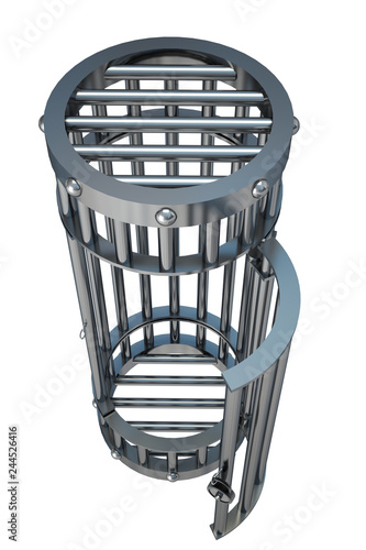 Fotografie, Obraz  Steel cage. Isolated on white background. 3d