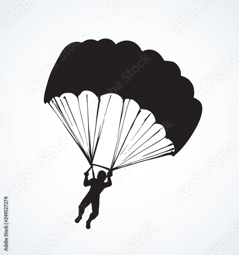 Fototapeta Parachutist. Vector drawing