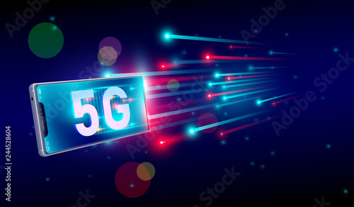 Canvastavla 5G internet fastest connection with smartphone concept, 5th generation of internet , speed of 5G network internet wireless