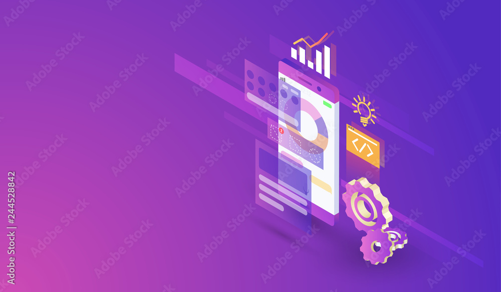 Fototapety, obrazy: Mobile Application Development process modern isometric design, mobile app and interface build vector.
