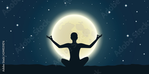 Obraz peaceful meditation at full moon and starry sky vector illustration EPS10 - fototapety do salonu