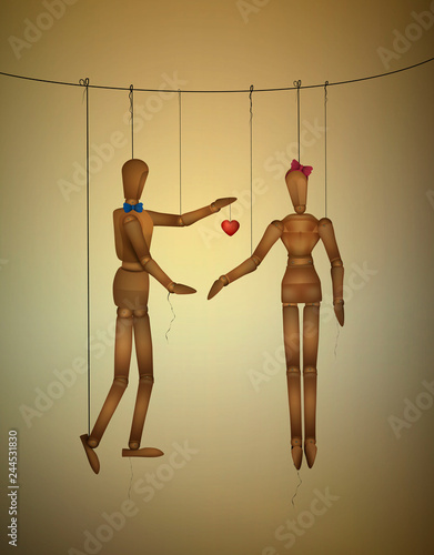 two lovers concept, romantic valentine marionettes, be my valentine forever idea Wallpaper Mural