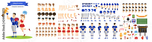 Fotografie, Tablou American football player and cheerleader character set