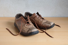 Pair Of Shabby Old Battered Mens Leather Shoes