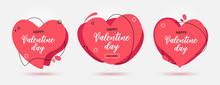 Set Of Modern Abstract Vector Banners For Valentine Day Holiday. Flat Geometric Shapes From Paper In Memphis Design Style. Vector Illustration
