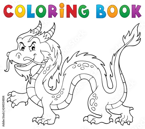Coloring book Chinese dragon theme 1