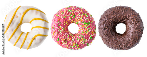 Poster Dessert Assorted donuts isolated on white