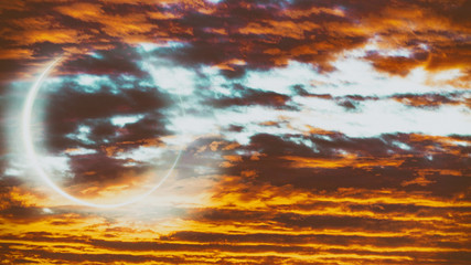 Planet behind sunset sky, astronomy concept