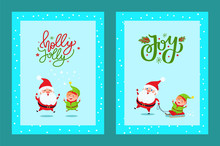 Holly Jolly Cute Greeting Card With Santa And Elf