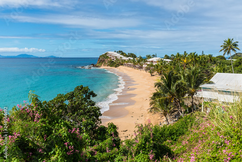 Beautiful marine view on tropical caribbean beach at Grace Bay, Antigua and Barb Canvas Print