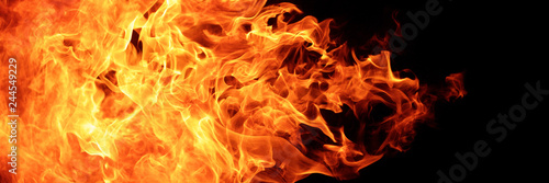 Photographie abstract blaze fire flame texture for banner background, 3 x 1 ratio
