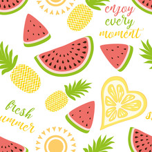 Seamless Pattern With Pineapples Watermelon Bright Summer Fruits Illustration. Fruit Mix Design For Fabric And Decor.