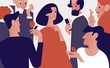 Beautiful attractive woman surrounded by old and young admirers or suitors giving her gifts, flowers, proposing marriage. Popularity among men. Colorful vector illustration in flat cartoon style.