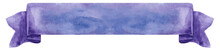 Watercolor Violet Ribbon. Hand Painted Banners Isolated On White Background.