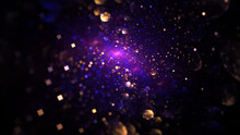 Abstract Blurred Blue And Golden Particles. Fantasy Colorful Holiday Sparkle Background. Digital Fractal Art. 3d