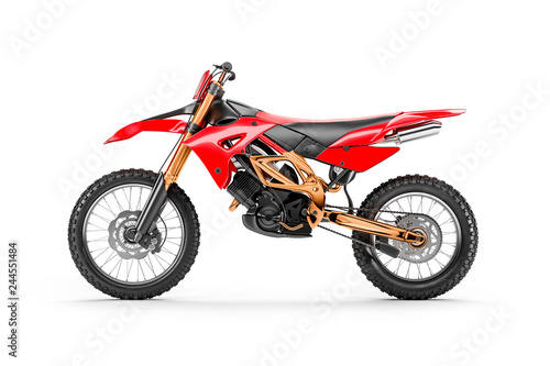 Recess Fitting Motor sports Red racing motorcycle for motocross by side view