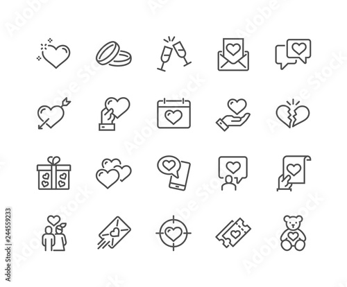 Fotografia Simple Set of Love Related Vector Line Icons
