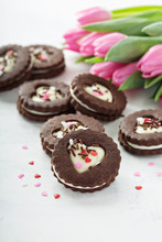 Heart Shaped Chocolate Cookies With Cream Filling