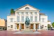 Leinwandbild Motiv Weimar Nationaltheater with Goethe-Schiller monument, Thuringia, Germany